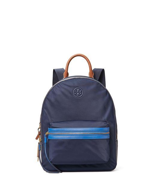 Tory Burch Blue Perry Nylon Zip Backpack