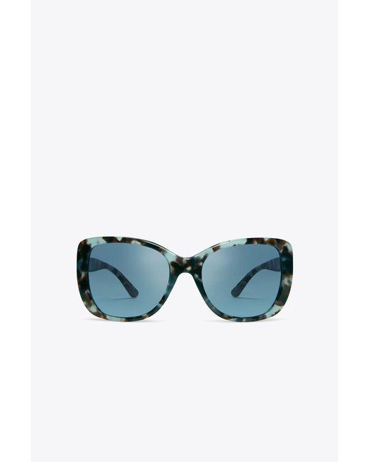 Tory Burch - Blue Logo-temple Sunglasses - Lyst
