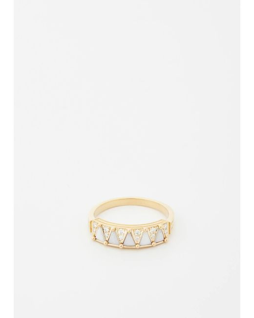 Mociun - Metallic 14k Yellow Gold / White / Snowdrift Agate Five Triangle Diamond Ring - Lyst