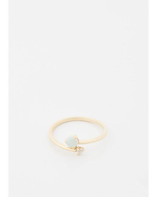 Wwake   Metallic 14k Gold / Opal / White Diamond Opal And Diamond Crossover Ring   Lyst