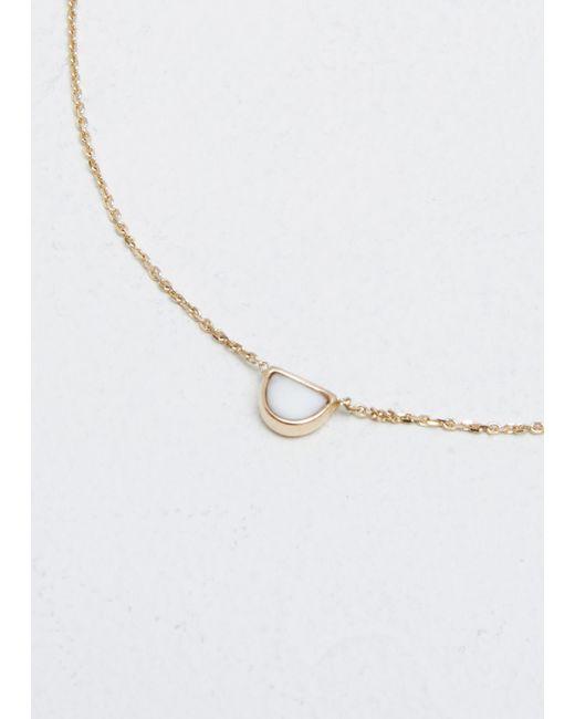 Mociun | Metallic Snowdrift Agate / 14k Yellow Gold Half Moon Necklace | Lyst