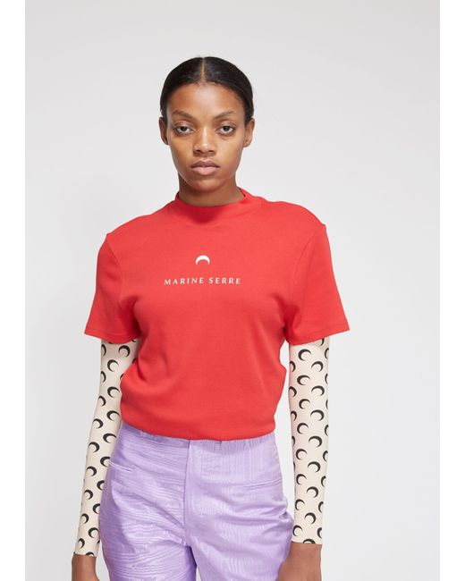 MARINE SERRE - Red Short Sleeve Graphic T-shirt - Lyst