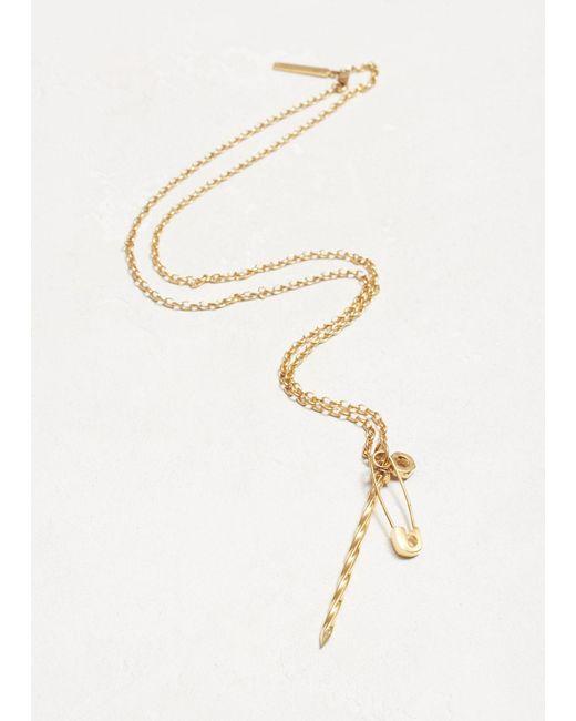 Lauren Klassen - Metallic 14k Yellow Gold N1 Safety Pin Nail Necklace - Lyst