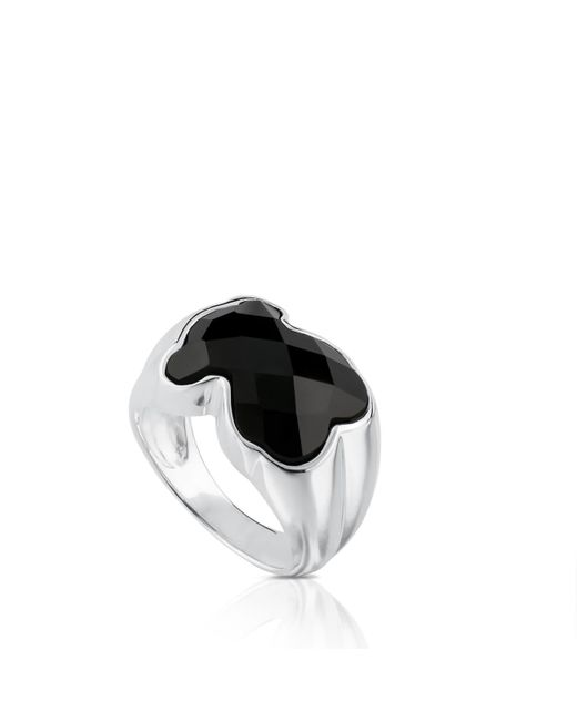 Tous Metallic Silver Color Ring With Onyx