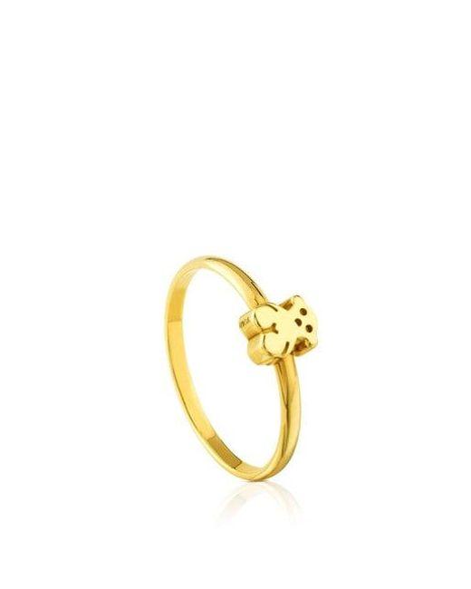 Tous Metallic Gold Puppies Ring