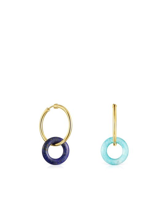 Tous Blue Hold Gems Earrings In Gold Vermeil With Amazonite And Lapis Lazuli
