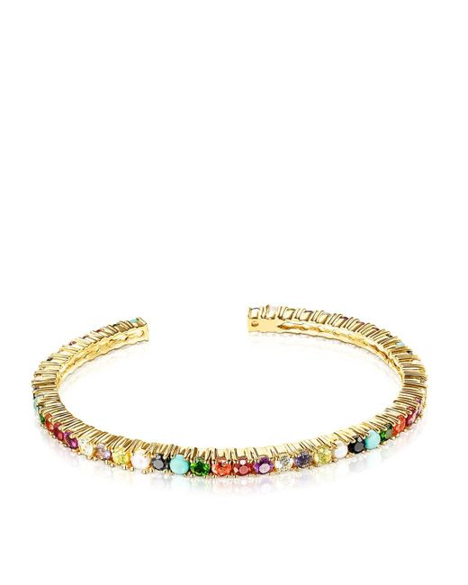 Tous Metallic Silver Vermeil Straight Color Bracelet With Gemstones