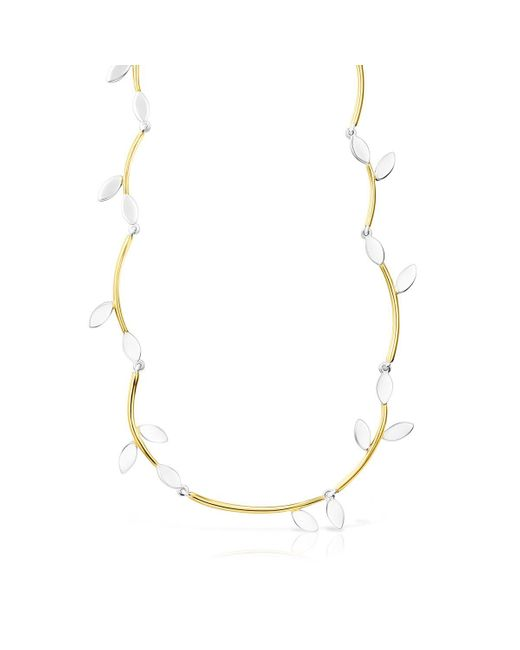 Tous Metallic Gold Vermeil And Silver Real Mix Leaf Necklace