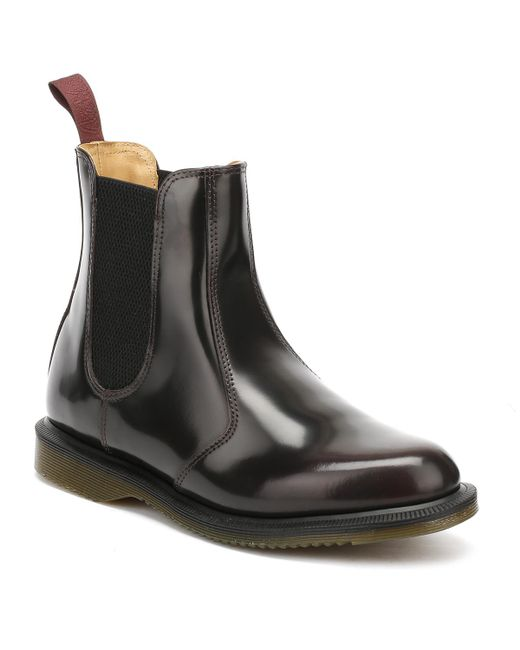 Dr. Martens | Black Dr. Martens Flora Womens Burgundy Classic Rub Off Leather Boots | Lyst