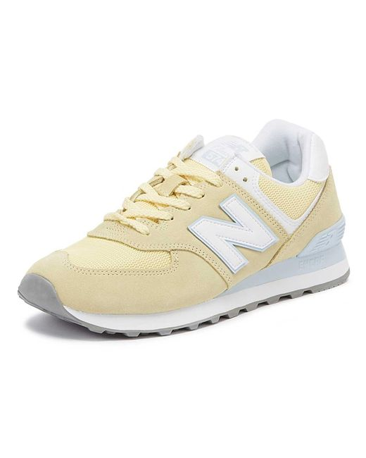 hot sale online 14aa1 f3568 New Balance Suede Womens 574 Lemon Classic Trainers in ...