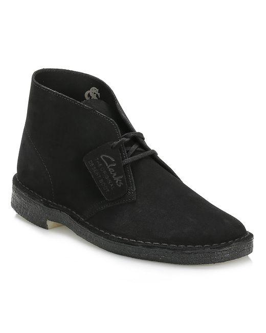 Clarks - Mens Black Desert Suede Boots for Men - Lyst