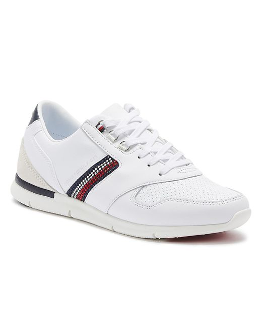 Tommy Hilfiger Lightweight Crystal Womens White Leather Trainers