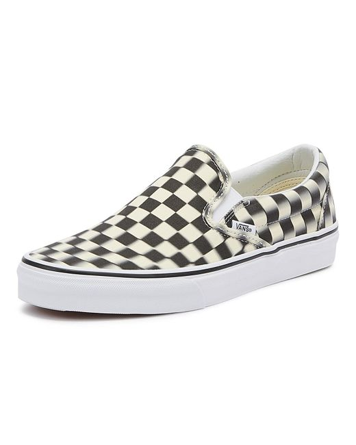 e9199f1dc2 ... Vans - Classic Slip-on Black Blur Checkerboard Trainers - Lyst ...