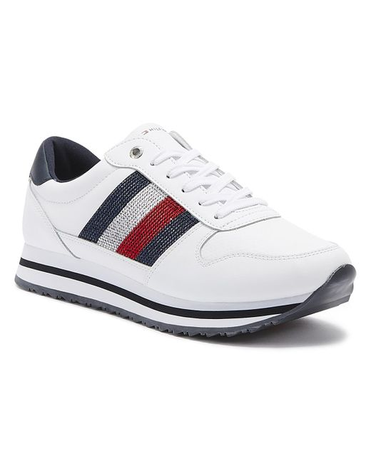 Tommy Hilfiger Retro Crystal Womens White Leather Trainers