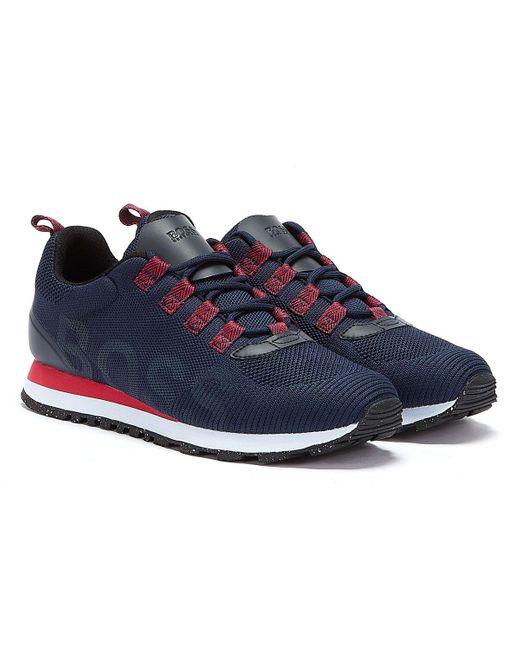BOSS by Hugo Boss Parkour Runn Res Marineblau / Rot Sneakers in Blue für Herren