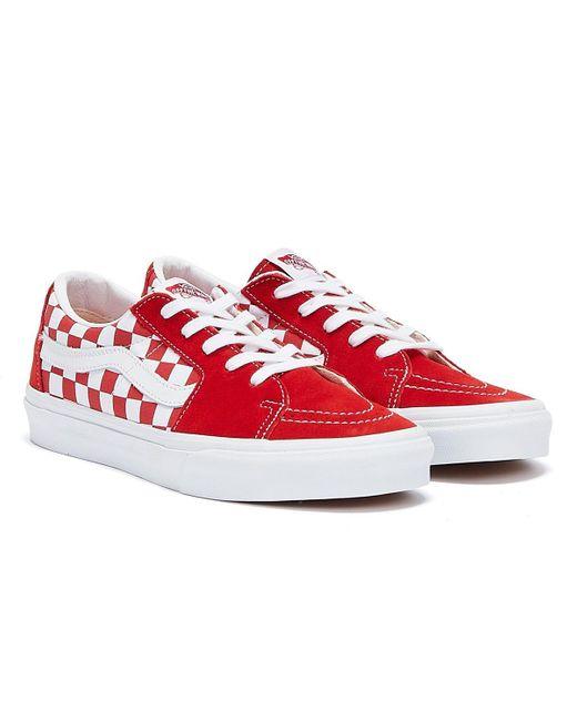 Sk8-Lo Checkerboard Baskets Rouge / Blanc Pour Daim Vans pour ...