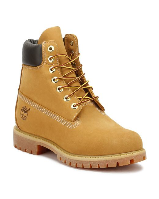 Timberland Brown Mens Wheat Premium 6 Inch Nubuck Leather Boots for men