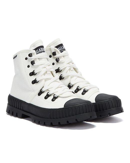 Pallashock Hiker Hi Bottes Blanc / Noir Pour Palladium en coloris White