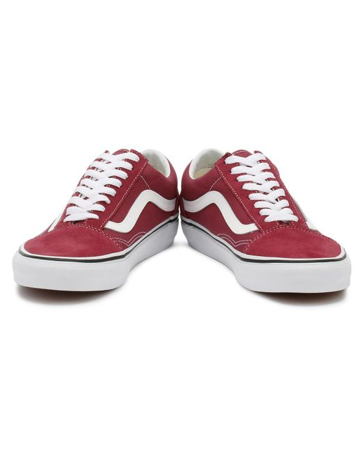 ded92d7494e1 ... Vans - Dry Rose Red   True White Old Skool Trainers Women s Shoes  (trainers) ...