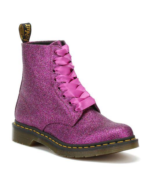 Dr. Martens Dr. Martens 1460 Pascal Womens Purple Glitter Boots