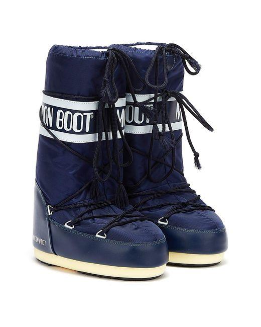 Moon Boot Blue Classic Icon Nylon Boots