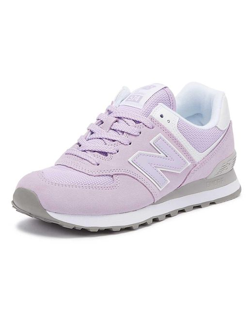 New Balance Suede Womens 574 Lilac Classic Trainers in
