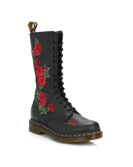 Dr. Martens Dr. Martens Vonda Embroidered Rose Womens Black Mid Calf Boots
