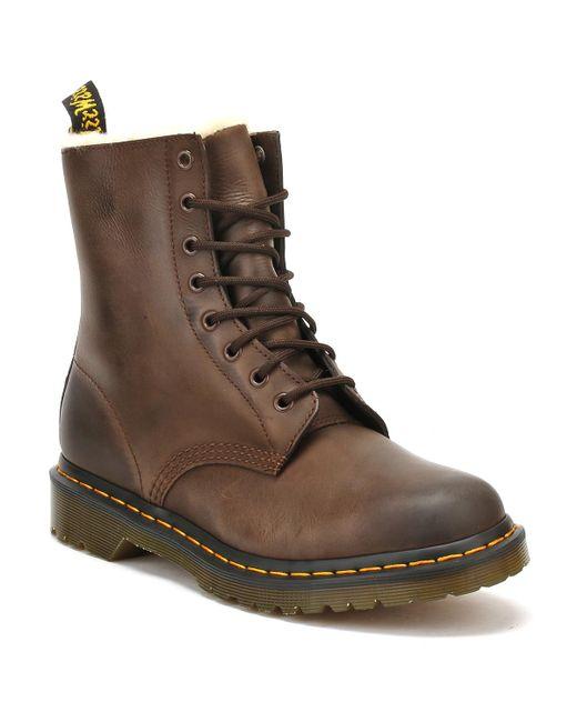 Dr. Martens Dr. Martens 1460 Serena Fur Lined Womens Dark Brown Boots