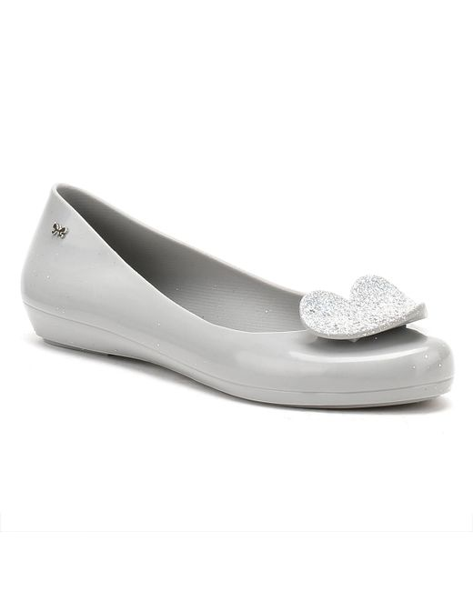 Zaxy | Gray Womens Grey Pop Heart Luxe Ballerina Flats | Lyst