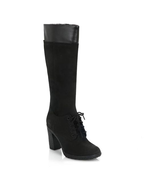 Timberland - Womens Black Glancy Tall Lace With Zip Boots - Lyst