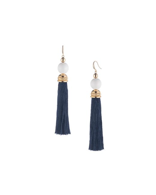 Trina Turk - Blue Beads In Bloom Tassel Earring - Lyst