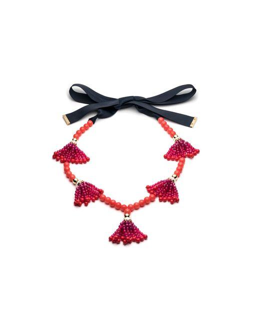Trina Turk - Red Beads In Bloom Tassel Necklace - Lyst