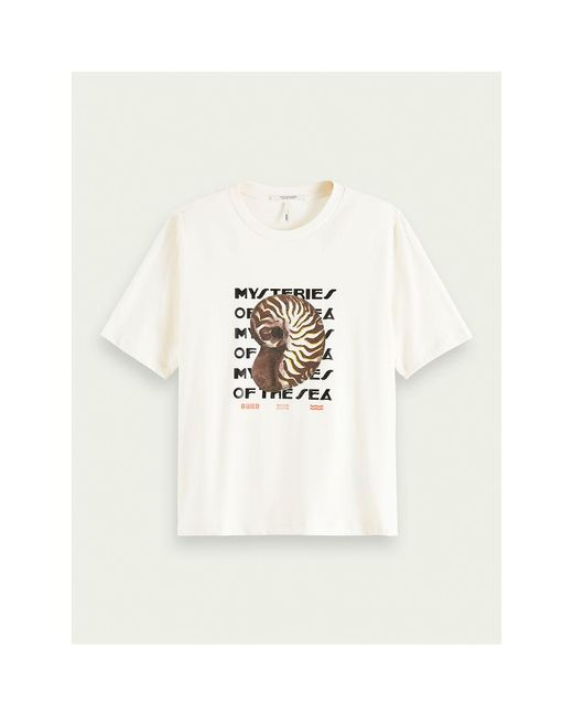 T-shirt con grafica boxy fit di Scotch & Soda in White