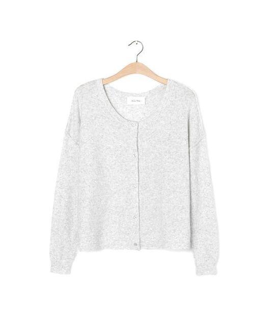 American Vintage White Heather Melange Damsville Wool Blend Cardigan