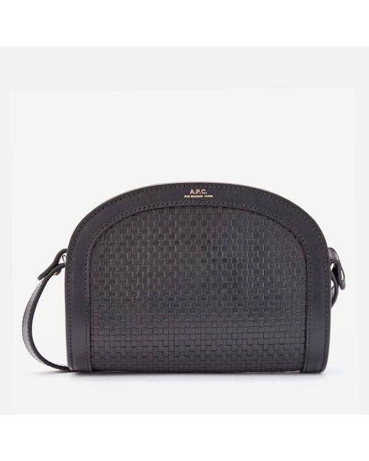 A.P.C. Mini Black Braided Demi Lune Bag