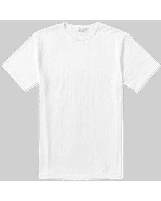 Sunspel Weißes klassisches Rundhals-T-Shirt in White für Herren