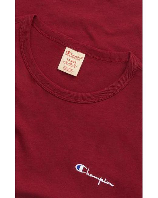 98b8c778 Champion - Red Burgundy Crewneck T Shirt for Men - Lyst ...