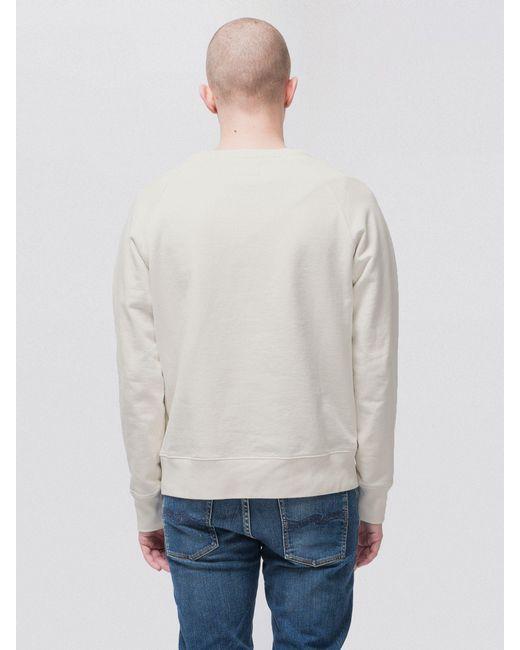 Nudie Jeans Dusty White Melvin Sweatshirt for men