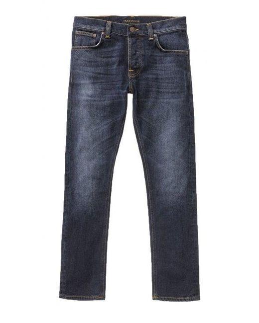 Nudie Jeans Blue Ink Navy Grim Tim Slim Fit Jeans for men