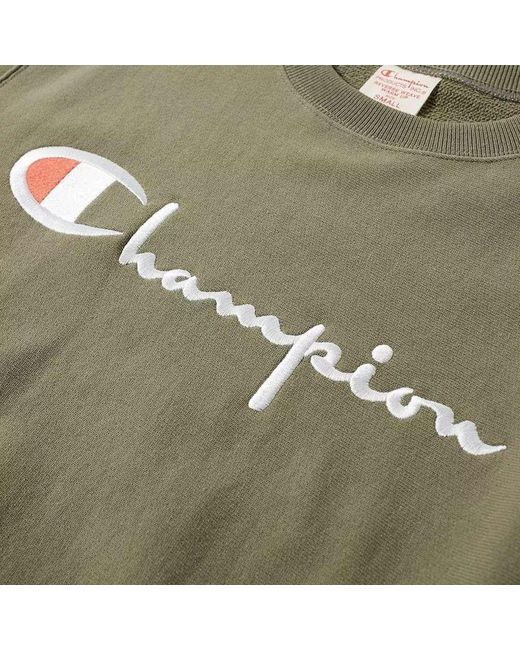 Champion Green Charcoal Script Logo Crew Sweatshirt for men