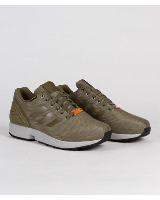 save off a099a 6b548 Men's Green Olive Nylon And Gore Tex Originals Zx Flux Gtx Shoes