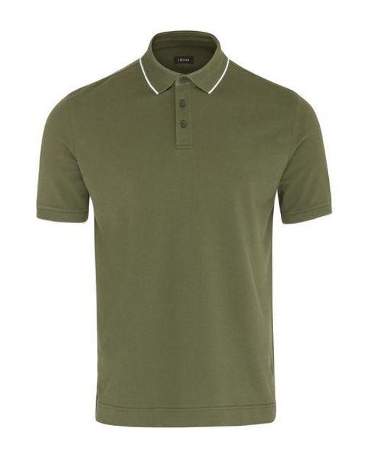 Polo con textura verde Z Zegna de hombre de color Green