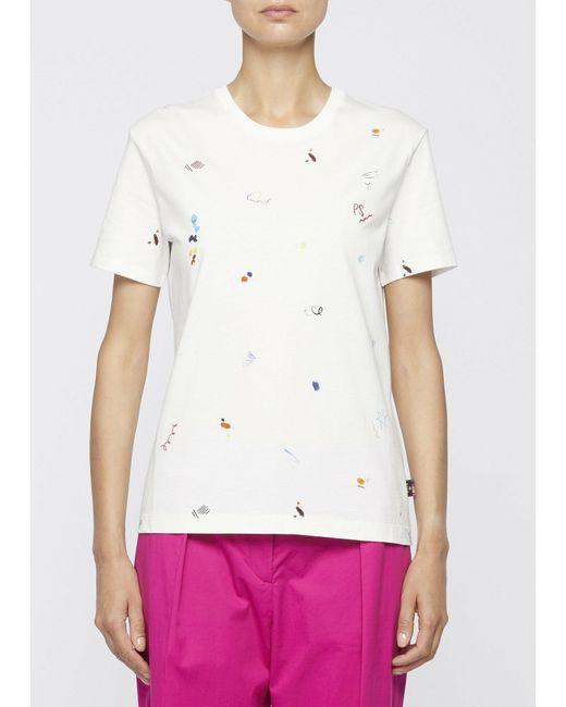 Camiseta blanca con estampado de garabatos de algodón orgánico Paul Smith de color White