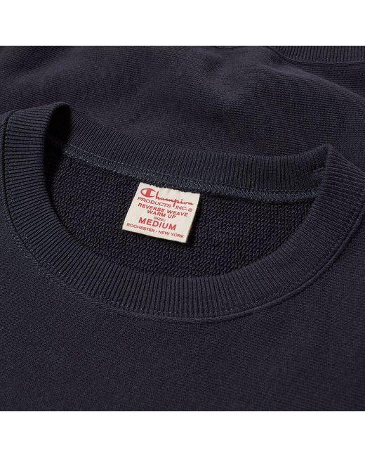 Champion Blue Navy Cotton 210975-nny Script Logo Crew Neck Mens Sweatshirt for men