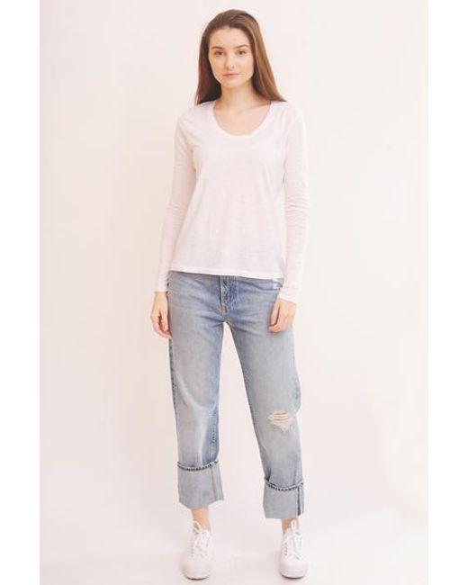 American Vintage White Jacksonville Long Sleeve T Shirt