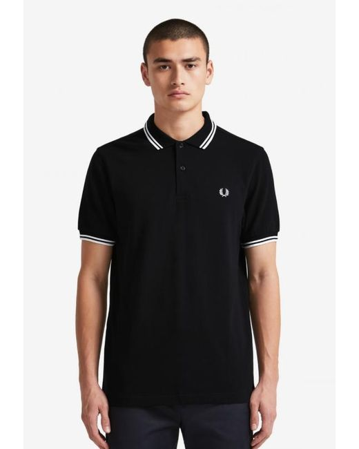 Camisa polo con punta doble de algodón antracita Fred Perry de hombre de color Gray