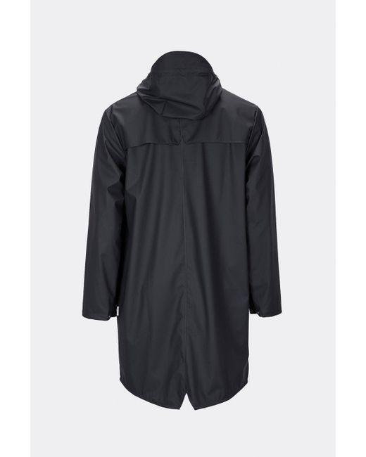 Rains Black Schwarze lange Jacke