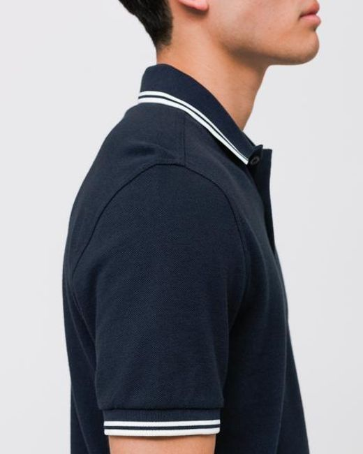 ed3247458 ... Fred Perry - Carbon Blue/black Oxford Ribbon Polo for Men - Lyst ...