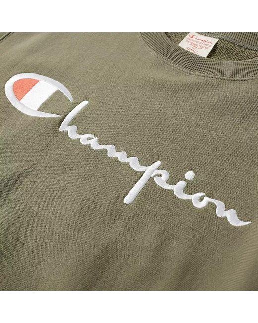 Champion Multicolor Large Charcoal Cotton 210975-dto Script Logo Crew Neck Mens Sweatshirt for men