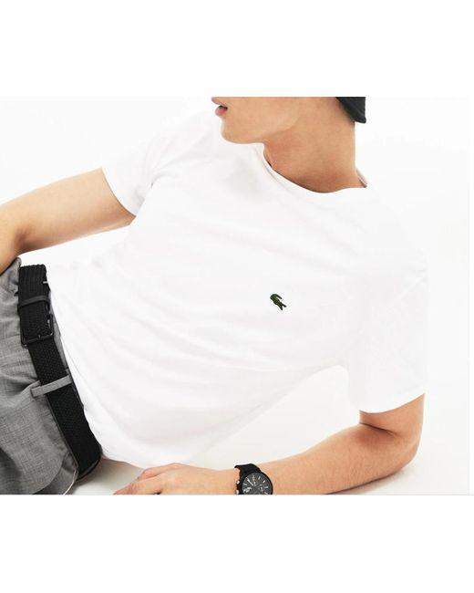 Hommes Lacoste ultra-léger col V Tennis Manches Courtes T-Shirt en Blanc